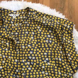 CAbi Silk Short Sleeve Button Down Blouse Small